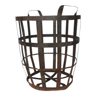 Early 20th C. Industrial Metal Basket For Sale