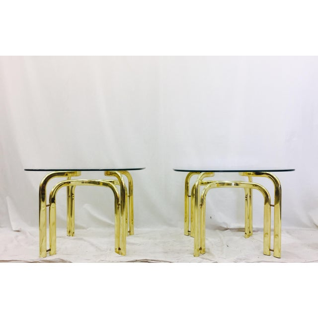 Modern Brass Side Tables - A Pair For Sale - Image 5 of 11