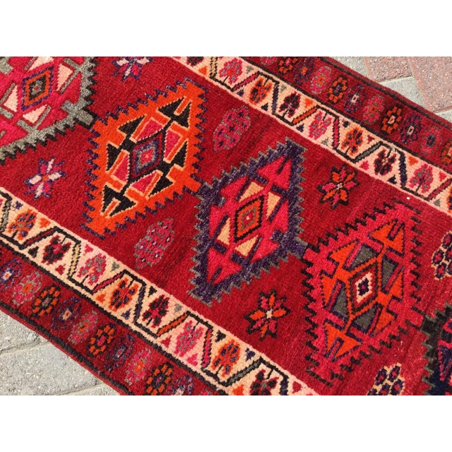 Vintage Hand Knotted Turkish Runner For Sale In Raleigh - Image 6 of 9