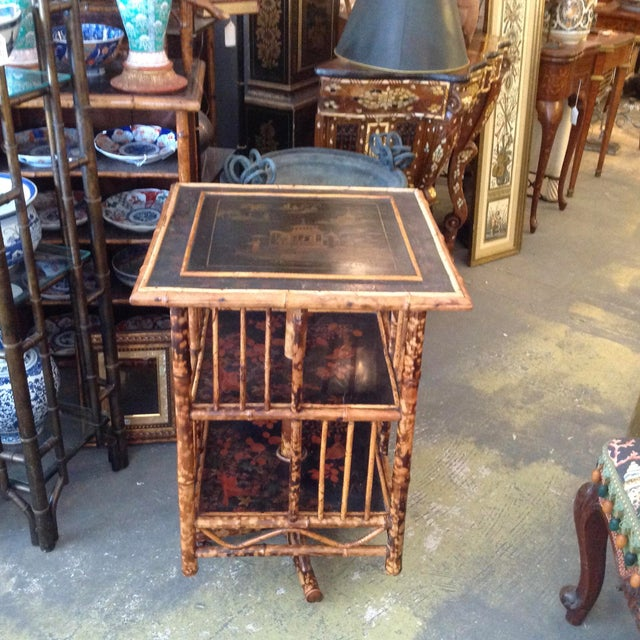 Fine English quality. This is a superb and rare Edwardian piece with finely detailed lacquered panels depicting pagodas...