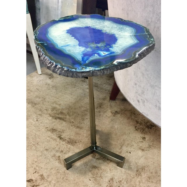 Modern Hammary Blue Agate End Table For Sale - Image 3 of 3