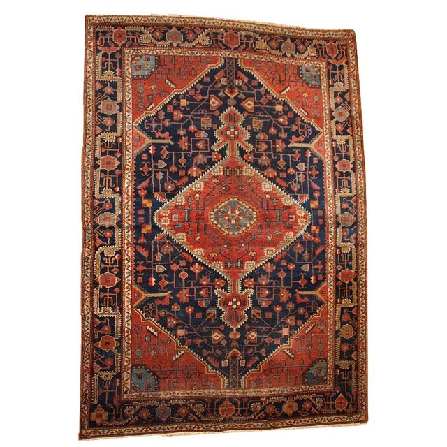 1920s Handmnade Antique Persian Malayer Rug - 4.10' X 7.3' For Sale