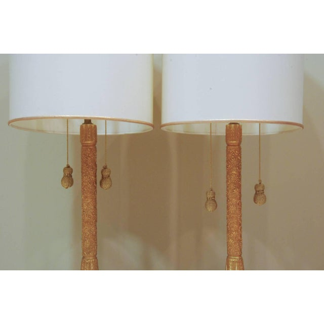 Hollywood Regency Circa 1950 Hollywood Regency Plaster & Gilt Lamps - A Pair For Sale - Image 3 of 5