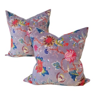 Cotton Velvet Chinoiseri Pillows a Pair For Sale