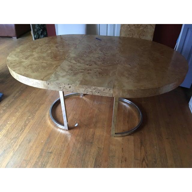Mid-Century Milo Baughman Burled Wood Dining Table - Image 5 of 10