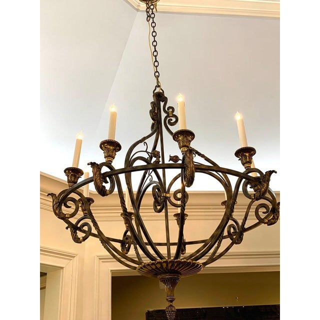 Neoclassical wrought iron and brass orb 8-light chandelier, by Maitland Smith substantial, great scale with brass and iron...