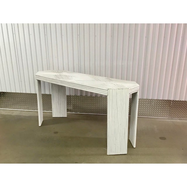 White Vintage Gabriella Crespi Style Split Reed Rattan Sofa Console Table For Sale - Image 8 of 11