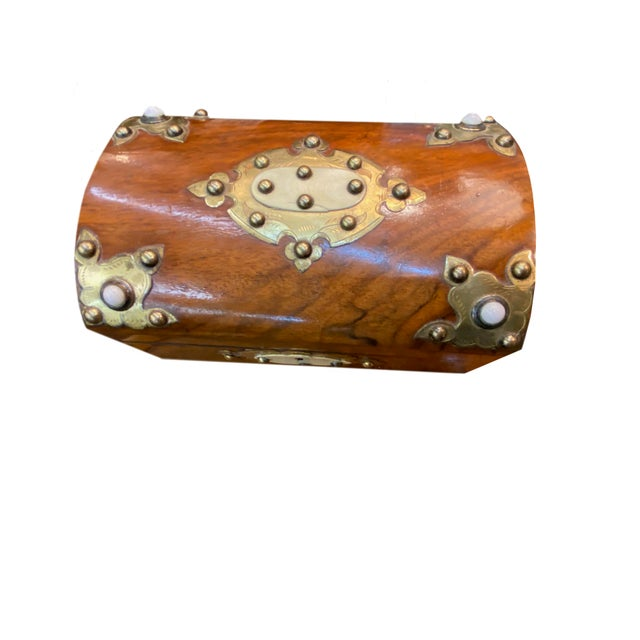 19th Century Dome Top Box With Ivory and Brass For Sale - Image 4 of 7