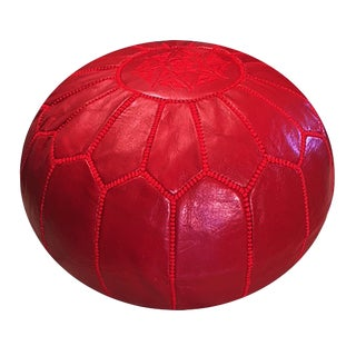 Ruby Red Pouf by Mpw Plaza, (Unstuffed) Moroccan Leather Pouf Ottoman For Sale