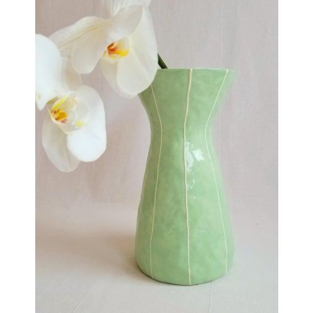 Modern Handmade Celery Green Ceramic Vase For Sale - Image 4 of 5
