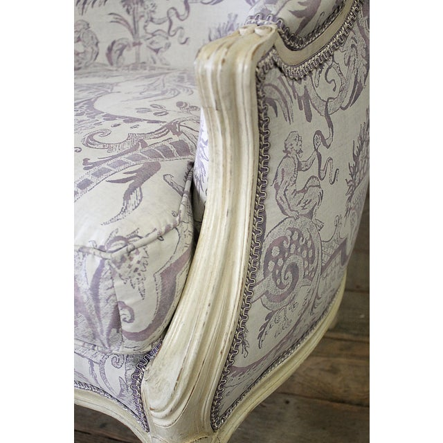Vintage 20th Century Painted French Louis XV Style Bergere Chairs- A Pair For Sale - Image 10 of 13