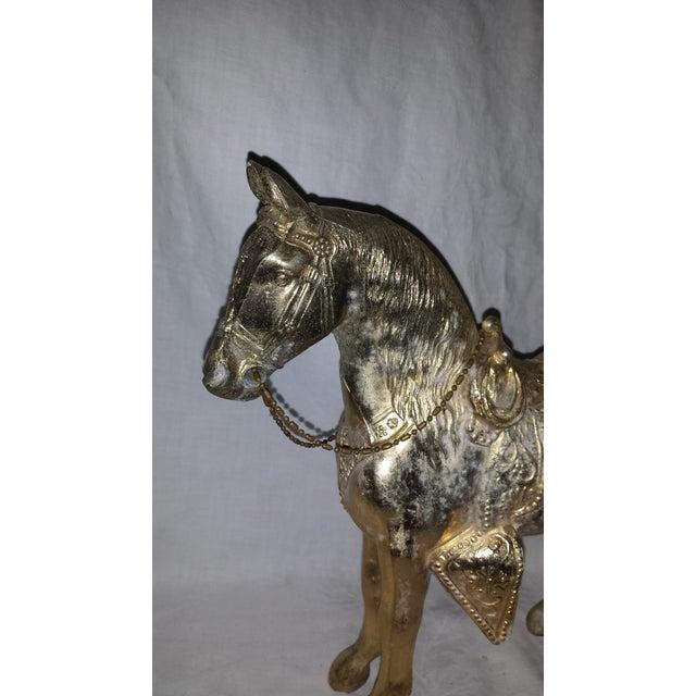 Vintage Metallic Paint Metal Horse Figure For Sale - Image 4 of 7