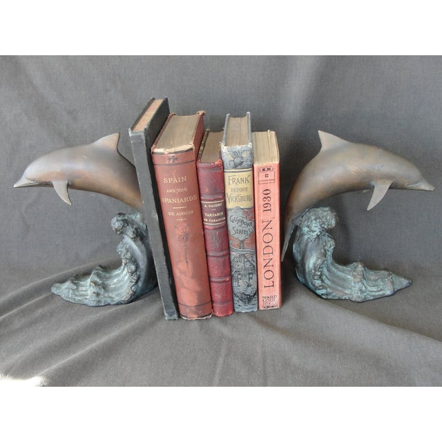 Cresting Wave Bronze Bookend Dolphins - Pair For Sale - Image 7 of 11