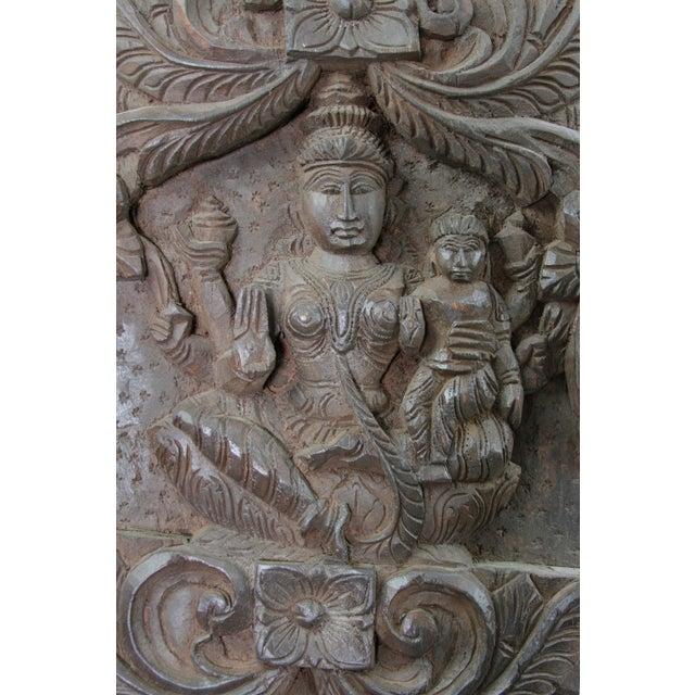 Lakshmi Adorned Carved Wall Panel - Image 2 of 2