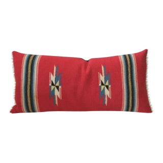 Vibrant Red Mexican Serape Bolster Pillow For Sale