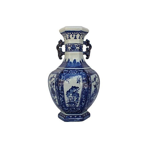 Chinese Chinoiserie Blue & White Porcelain Vase - Image 1 of 5