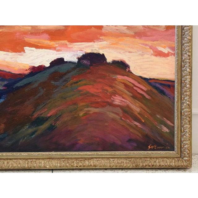 Mid 20th Century Impressionist Santa Barbara Sunset Painting by Juan Guzman For Sale - Image 5 of 9