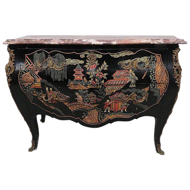 Chinoiserie Marble-Top Commode For Sale