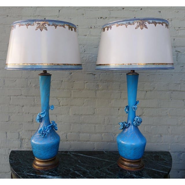 Turquoise Murano Glass Lamps - A Pair - Image 2 of 9