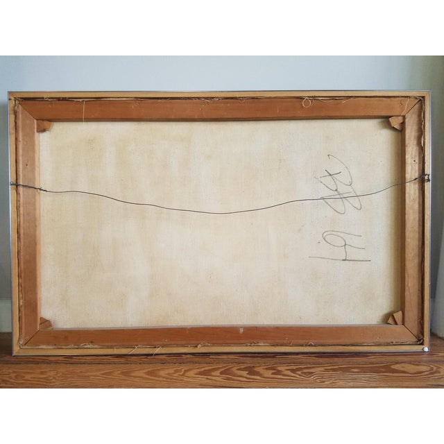 Market found, I was drawn to the earthy toned color palette of this mid-century modern abstract painting on canvas in it's...