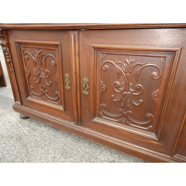 Antique Ornate French Victorian Renaissance Revival Dresser Credenza W Marble For Sale - Image 11 of 12
