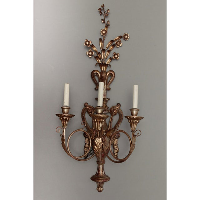 Vintage Italian Giltwood and Metal Sconces - Pair - Image 4 of 5