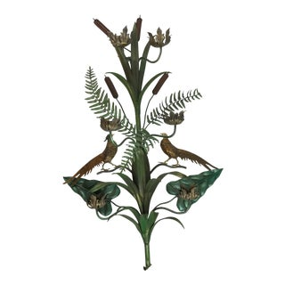 Vintage Italian Tole Wall Candle Sconce Pheasants Ferns Cattails