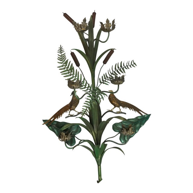 Vintage Italian Tole Wall Candle Sconce Pheasants Ferns Cattails For Sale