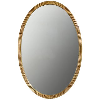 Palladio Italian Reeded and Gilt Oval Mirror For Sale