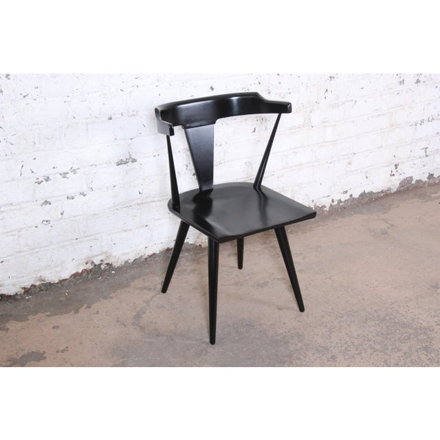 Black Paul McCobb Planner Group T-Back Black Lacquered Solid Maple Dining Chairs, Set of Eight For Sale - Image 8 of 13