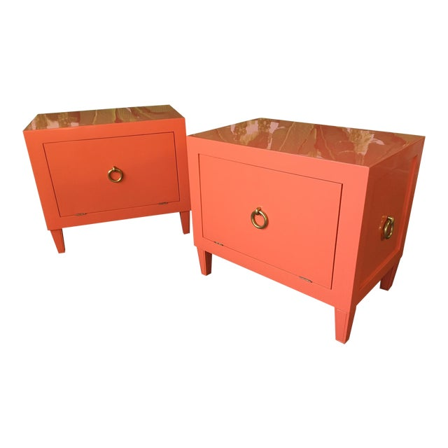 Pair of Hollywood Regency Lacquered Nightstands For Sale
