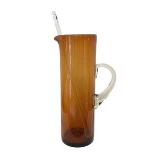 Handblown Amber Glass Martini Pitcher & Stirrer For Sale
