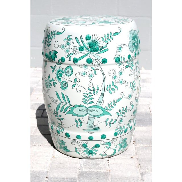 Green is the new blue! Ceramic garden stool table with white glaze and detailed, green floral designs. Excellent...