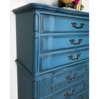 1960s French Provincial Bassett Furniture Blue Chest of Drawers Preview