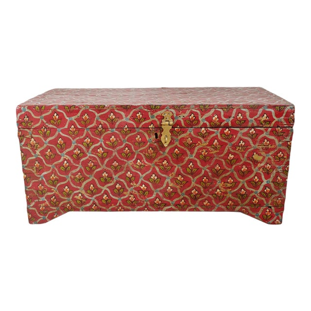 Painted Flower Wood Box For Sale