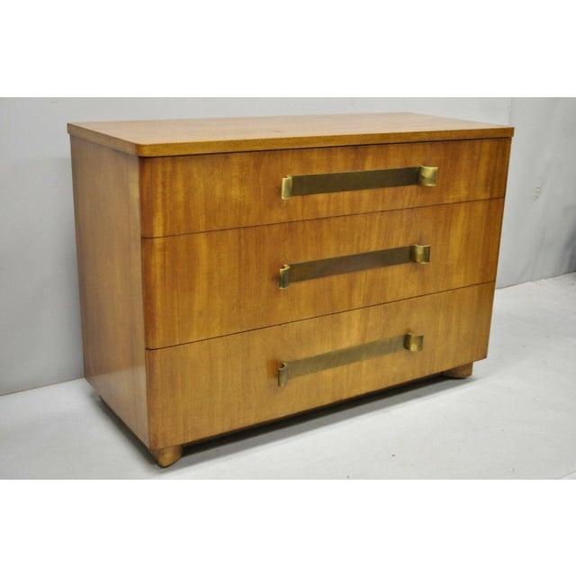 John Stuart Mid Century Modern Art Deco Birch Dresser with Sculpted Bronze Pulls. Listing includes bronze/brass drawer...
