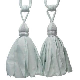 Pale Blue Tiebacks W/ Very Large Tassels, Pair For Sale