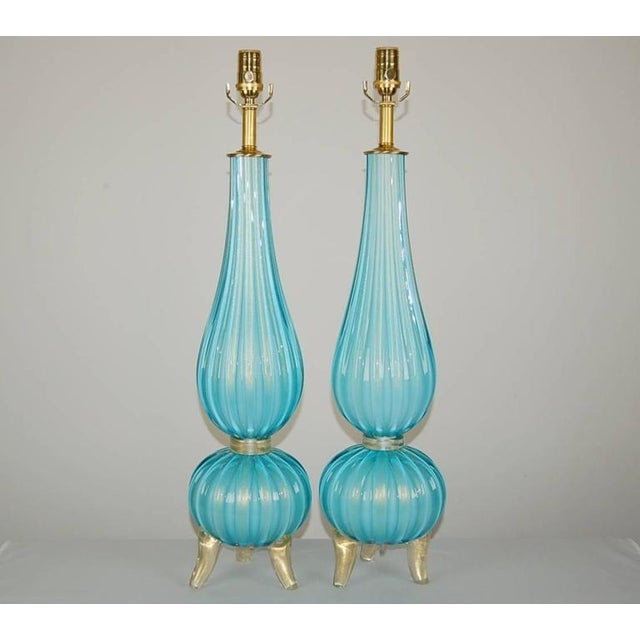 An elegant interpretation of the Classic Barovier & Toso glass table lamps in breathtaking SKY BLUE. These Venetian lamps...