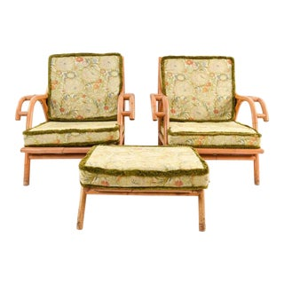 Mid-Century Vintage Rattan Chairs & Ottoman- 3 Pieces For Sale