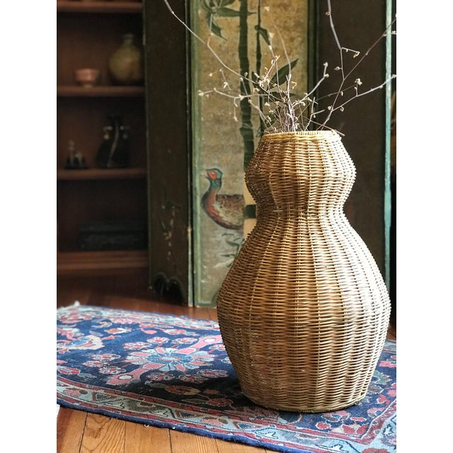 Wicker Tall Sculptural Vintage Wicker Double Gourd Basket For Sale - Image 7 of 8