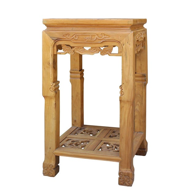Chinese Square Carved Wood Pedestal Plant Stand - Image 3 of 6
