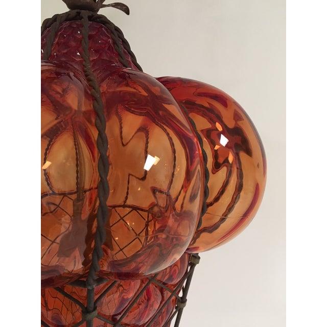 Mid-Century Modern Vintage Reddish Orange Murano Baloton Style Glass Single Pendant Light For Sale - Image 3 of 9
