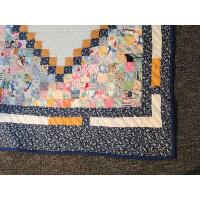 Textile Fantastic Mini-Pieced Postage Stamp Quilt from Pennsylvania For Sale - Image 7 of 10