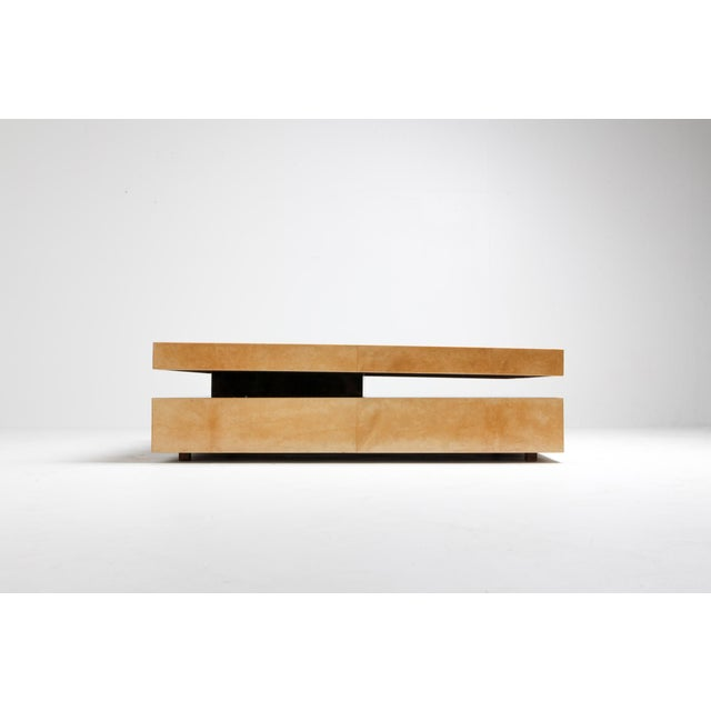 Hollywood Regency Aldo Tura Two-Tier Sliding Coffee Table For Sale - Image 3 of 12