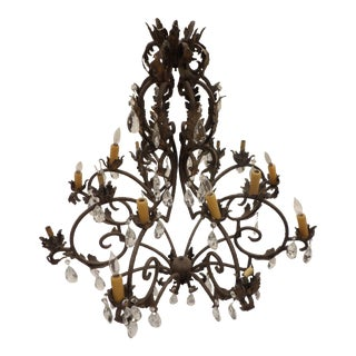 Vintage Wrought Iron Chandelier With Crystals For Sale