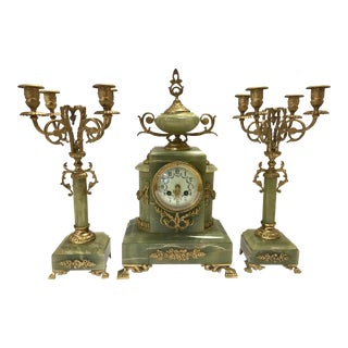 Early 20th Century Vintage Onyx and Bronze Clock Garniture and Candelabras- 3 Pieces For Sale