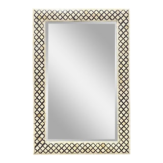 Indian Bone Mirror With Geometric Pattern For Sale