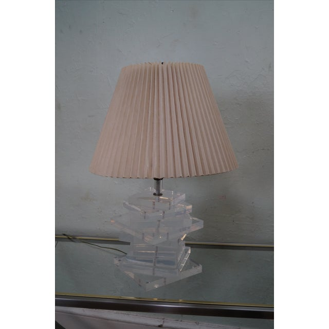 Tan Mid-Century Stacked Lucite Lamps - Pair For Sale - Image 8 of 10