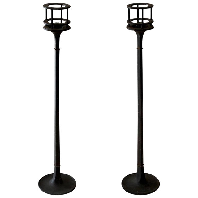 1960s Dansk Iron Candlesticks - A Pair For Sale