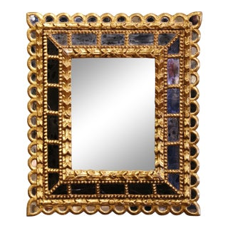 Early 20th Century French Giltwood Sunburst Mirror With Overlay Recessed Glass For Sale